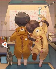 cute chibi ♥ discovered by Quỳnh Hương on We Heart It Cute Couple Art, Anime Love Couple, Cute Anime Couples, Cute Chibi Couple, Couple Cartoon, Anime Chibi, Anime Kawaii, Kawaii Chibi, Manga Anime