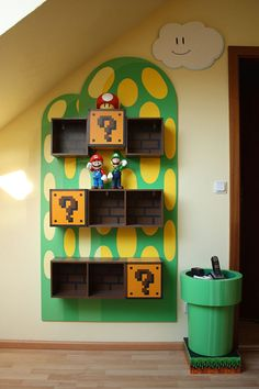 Neat Nintendo shelves. Love the little coffee table. Maybe for the living room?