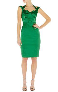 Elegant Pretty Karen Millen DN194 signature stretch satin dress green price,Karen Millen UK