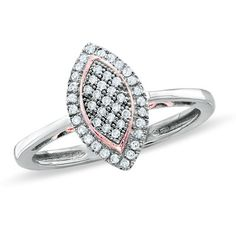 1/7 CT. T.W. Marquise Diamond Cluster Promise Ring in 10K Two-Tone Gold  Zales  Orig. $249.00