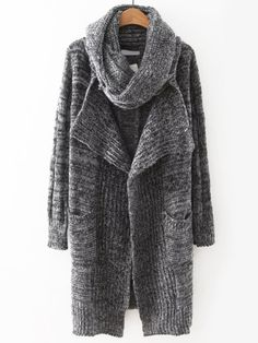 Drape Front Long Cardigan With Non Detachable Scarf (Gray) Long Cardigan Coat, Cardigan Sweaters For Women, Grey Cardigan, Winter Sweaters, Sweater Coats, Knit Cardigan, Cardigans, Gray Sweater, Best Winter Coats