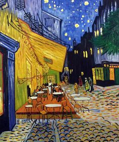 Van Gogh - Cafe Terrace at Night (Luxury Line). Oil painting reproduction framed art at overstockArt.com