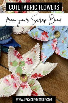Easy Fabric Flowers, Fabric Flower Brooch, Fabric Flower Tutorial, Cloth Flowers, Dyi Flowers, Material Flowers, Scrap Material, Handmade Flowers, Pretty Flowers
