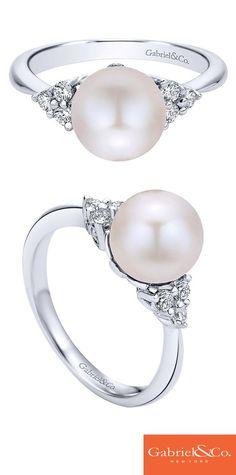 This gorgeous 14k White Gold Diamond Pearl Ring by Gabriel