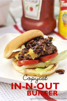 In-N-Out BUrger copycat burger recipe. Great summer dinner recipe.