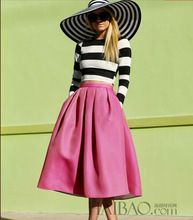 2014 autumn fall season elegant vintage retro fashion casual stripe black and white pink dress ball grown audrey hepburn style(China (Mainland))