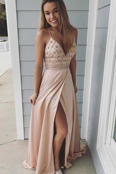 Spaghetti Straps Prom Dresses,long Prom Dress, Beaded Prom Gown,party Dress With Side Slit Beige Prom Dresses, Straps Prom Dresses, Hoco Dresses, Prom Party Dresses, Ball Dresses, Pretty Dresses, Sexy Dresses, Beautiful Dresses, Dress Party