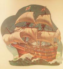 Vintage Thanksgiving Mayflower Ship Die Cut Dennison Decorations Mid Century USA