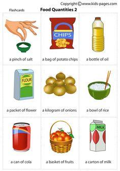 Food Quantities-english vocab #Aprender #inglés #vocabulario comestibles, tamaños y porciones