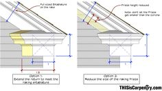 how to add gable overhang and rake moulding Gable Trim, Gable Roof Design, Cornice Design, Craftsman Remodel, Moldings And Trim, Moulding, Pergola, House Trim, Porch Roof