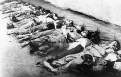 The corpses of children pictured in Barcelona after the German and Italian air raids of January 1938.