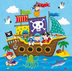 Drawing School, Drawing For Kids, Painting For Kids, Art For Kids, Crafts For Kids, Pirate Crafts, Pirate Art, Pirate Theme, Pirate Preschool
