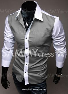 Slimming Trendy Shirt Collar Color Block Splicing Long Sleeve Cotton Shirt For Men