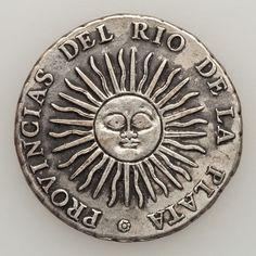 8 reales 1813   Plata - Peso 27 gr - Ley 10 Dineros 18 granos - Canto laureado - Ceca Potosí   Módulo 40 mm - Reverso medalla - Ens... Gold Money, Antique Coins, Silver Coins, Metal Art, Stamp, History, Revolver, Bolivia, Retro