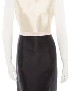 Michael Kors Colorblock Dress  Creme, pink and navy sheath dress with back zip closure and front slash pockets   Fabric Content: 50% Wool, 50% Silk