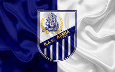 Download wallpapers Lamia FC, 4k, Greek football club, emblem, Lamia logo, Super League, championship, football, Lamia, Greece, silk texture, flag