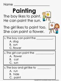 Printables Kindergarten Reading Comprehension Worksheets kindergarten comprehension worksheets davezan beginning blends reading passages the passage simple for kindergarten