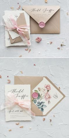 Kraft paper and pink wedding invitations