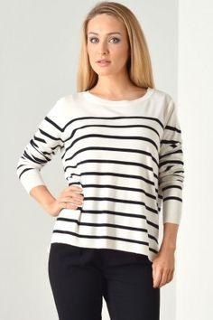 Mila Stripe S/S Pullover in Cloud Dancer Cloud Dancer, Max Mara, Knitwear, Stripes, Pullover, Primavera Estate, Shopping, Tops, Valentines