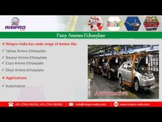 Video about all Types of Surfactants for Industries by  www.rimpro-india.com.  Rimpro India a leading manufacturer and exporter of Fatty Alcohol Ethoxylates ranging Tridecyl Alcohol Ethoxylate, Lauryl Alcohol Ethoxylate, Oleyl Alcohol Ethoxylate, Decyl Alcohol Ethoxylate and Cetostearyl Alcohol Ethoxylate. The wide ranging Application of Fatty Alcohol Ethoxylates includes automotive, paint, pharmaceutical, agrochemical, emulsion polymerization and other industries.
