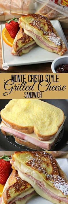 Monte Cristo Style Grilled Cheese Sandwich made with salty ham and creamy Swiss cheese dipped in egg and fried up golden brown makes a satisfying lunch or quick dinner.