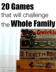 Games make great gifts!  Here are 20 games that will challenge the whole family.