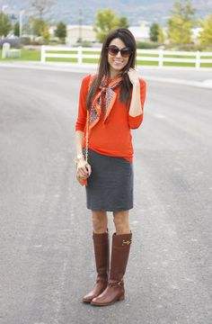 Orange with gray skirt and boots
