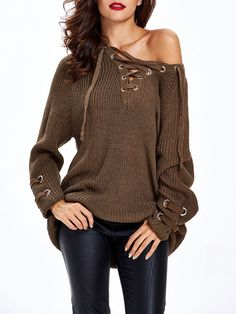 V Neck Lace-up Plain Loose Fitting Sweater