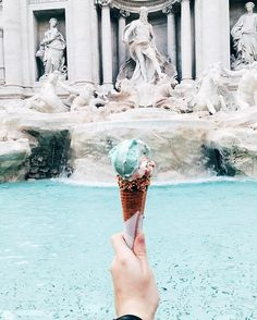 "hemingwayandhepburn: "" Fact: Gelato tastes better in Italy (at Fontana Di Trevi-Roma) """