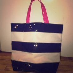 🎉FLASH SALE🎉 Navy/white/pink beach tote Looks black in pictures but is navy. Great condition! PINK VS tagged for views PINK Victoria's Secret Bags Totes