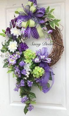 67 Best Ideas For Door Wreaths Hydrangea Deco Mesh Diy Spring Wreath, Diy Wreath, Door Wreaths, Grapevine Wreath, Wreath Crafts, Wreath Ideas, Spring Wreaths For Front Door Diy, Ribbon Wreaths, Burlap Wreaths