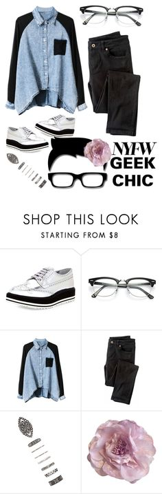 """""""Geek Chic"""" by ice-cream-is-nice-cream ❤ liked on Polyvore featuring Prada, Ray-Ban, Wrap, Forever 21, Cynthia Rowley, StreetStyle and NYFW"""