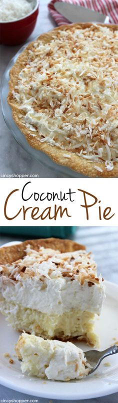 Coconut Cream Pie- Super Simple Pie- Starts with a store bought crust. Then topped with the most delish coconut cream filling and topping. Great Easter Pie.