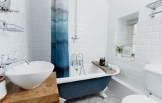 Roll Top Bath For two with Claw Feet, Society 6 Shower Curtain, Reclaimed wooden pedestal, Bath For Two, Cornish Cottage, Handy Iphone, North Cornwall, Roll Top Bath, Clawfoot Bathtub, Photo Galleries, The Unit, Luxury