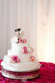 Disney Wedding Cake Topper...scroll work in silver...flowers in purples