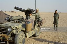 Tow American Missile on a jeep in Saudi Arabia on August 25th, 1990.
