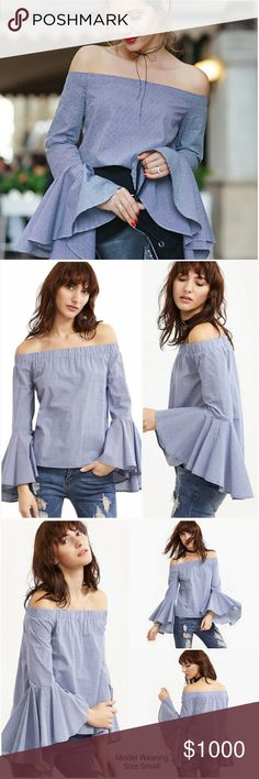 ? Coming Soon ?Off The Shoulder Bell Sleeve Blouse ? Like to be notified when this arrives.   Cute subtle checker blue blouse with off the shoulder top with elastic stretch and large ruffle bell sleeves. Material: Cotton AJ's Threads  Tops Blouses