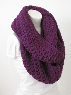 Chunky Infinity Scarf, Oversized Thick and Warm -Dark Orchid...Free Matching beanie hat with pom poms by VansBasicWear on Etsy