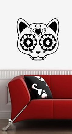WALL - Sugar Skull Cat - Day of the Dead - Día de los Muertos - Wall Vinyl Decal…