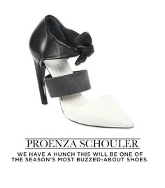 Proenza Schouler: Leather Tie-Up Pumps in Black and White