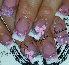 Acrylic nails by Angela Jones---love love love..you know me and Pink
