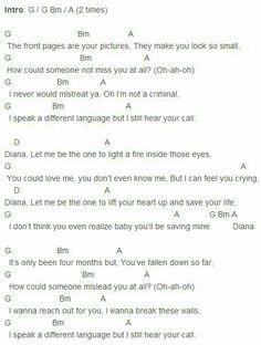 Diana Ukulele Chords Songs Guitar Uke Tabs Woman Dresses Sheet