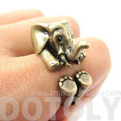 3D Baby Elephant Animal Wrap Around Ring in Bronze | Size 5 to 8.5 $12.50.  Err muh gosh!