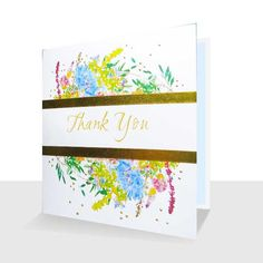 Thank You Card:Wild flowers : Gold Foil : Handmade, Greetings Cards Online Thank You Greetings, Thank You Cards, Gold Dots, Unique Cards, Wild Flowers, Envelope, Greeting Cards, Messages, Luxury