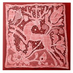 Christmas Lace on Red (Ceramic Tile)