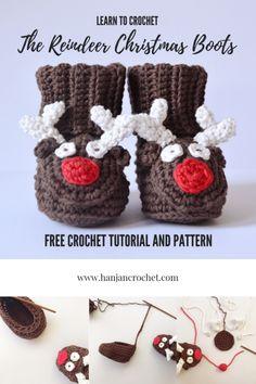 Reindeer christmas baby boots free crochet pattern by Hannah Cross. Christmas crochet boot slippers. Crochet Quilt, Crochet Dolls, Free Crochet, Crochet Stitches, Crochet Hats, Crochet Baby Boots, Crochet Slippers, Knit Crochet, Crochet Ideas