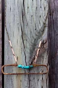 Up To The Mountain: Turquoise//Hand Forged Brass by jennakoo