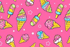 Set of colorful patterns with ice creams / The bright colors of the best ice…