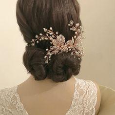 Coiffe Peigne de Cérémonie Perles & cristaux Rose Gold - Coiffure Mariée - Chignon Mariage - Esprit Bohème