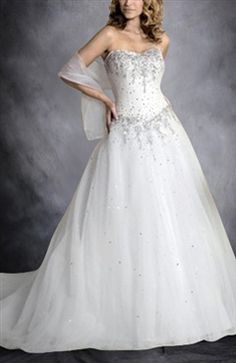 Embroidery Sweetheart A-lien Tulle Skirt Wedding Dress - Wedding Gowns - OuterInner.com